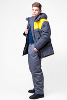 Куртка утепленная тк. дюспо цв. серо-желтый